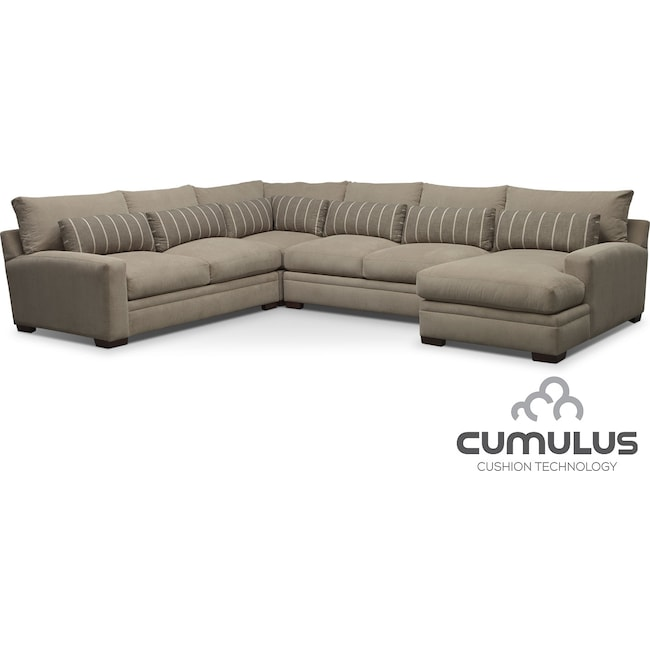 Living Room Furniture - Ventura 4-Piece Right-Facing Sectional - Buff