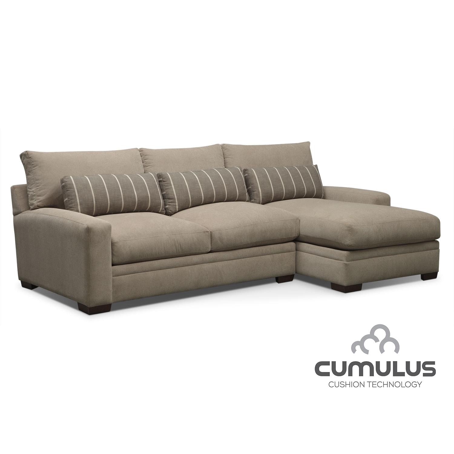 Living Room Furniture - Ventura 2-Piece Right-Facing Sectional - Buff