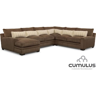 Ventura 4-Piece Sectional with Left-Facing Chaise - Brown