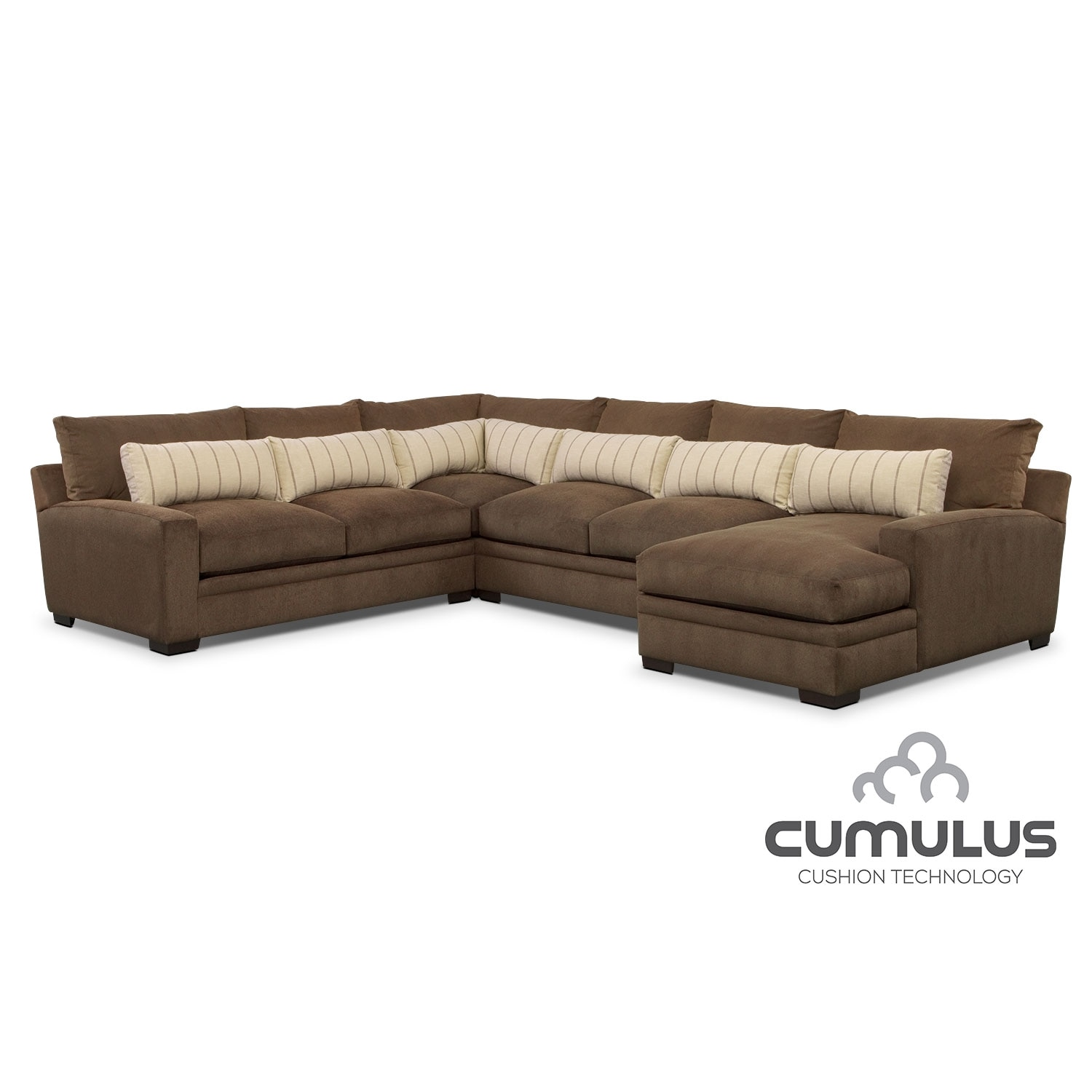 Ventura 4-Piece Sectional with Right-Facing Chaise - Brown