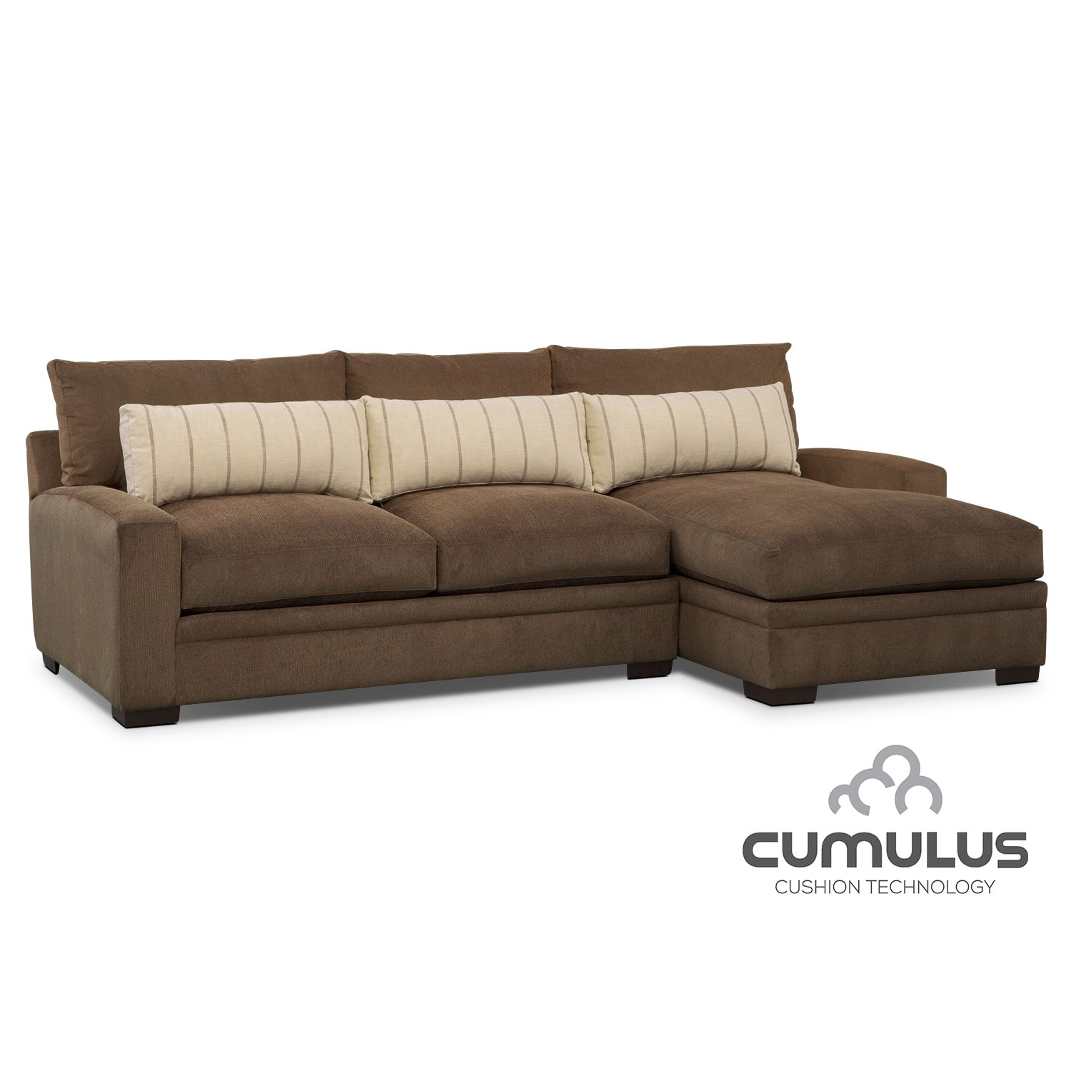 Ventura 2-Piece Sectional with Right-Facing Chaise - Brown