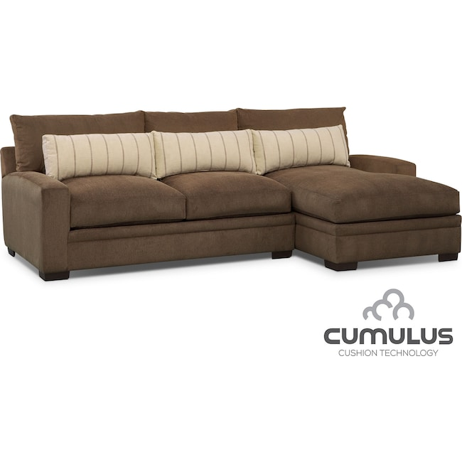 Living Room Furniture - Ventura 2-Piece Sectional with Right-Facing Chaise - Brown