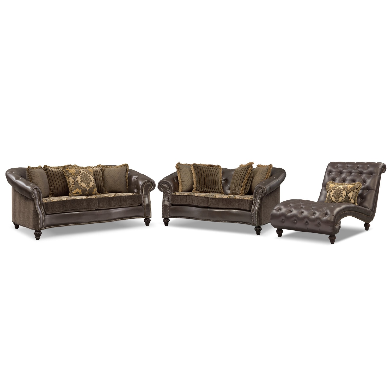 Living Room Furniture - Nicholas 3 Pc. Living Room w/Chaise