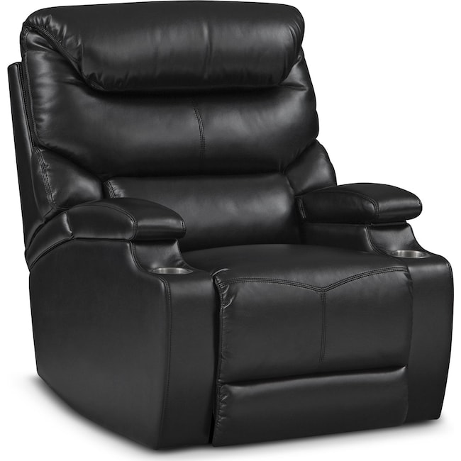 Living Room Furniture - Saturn Power Recliner - Black