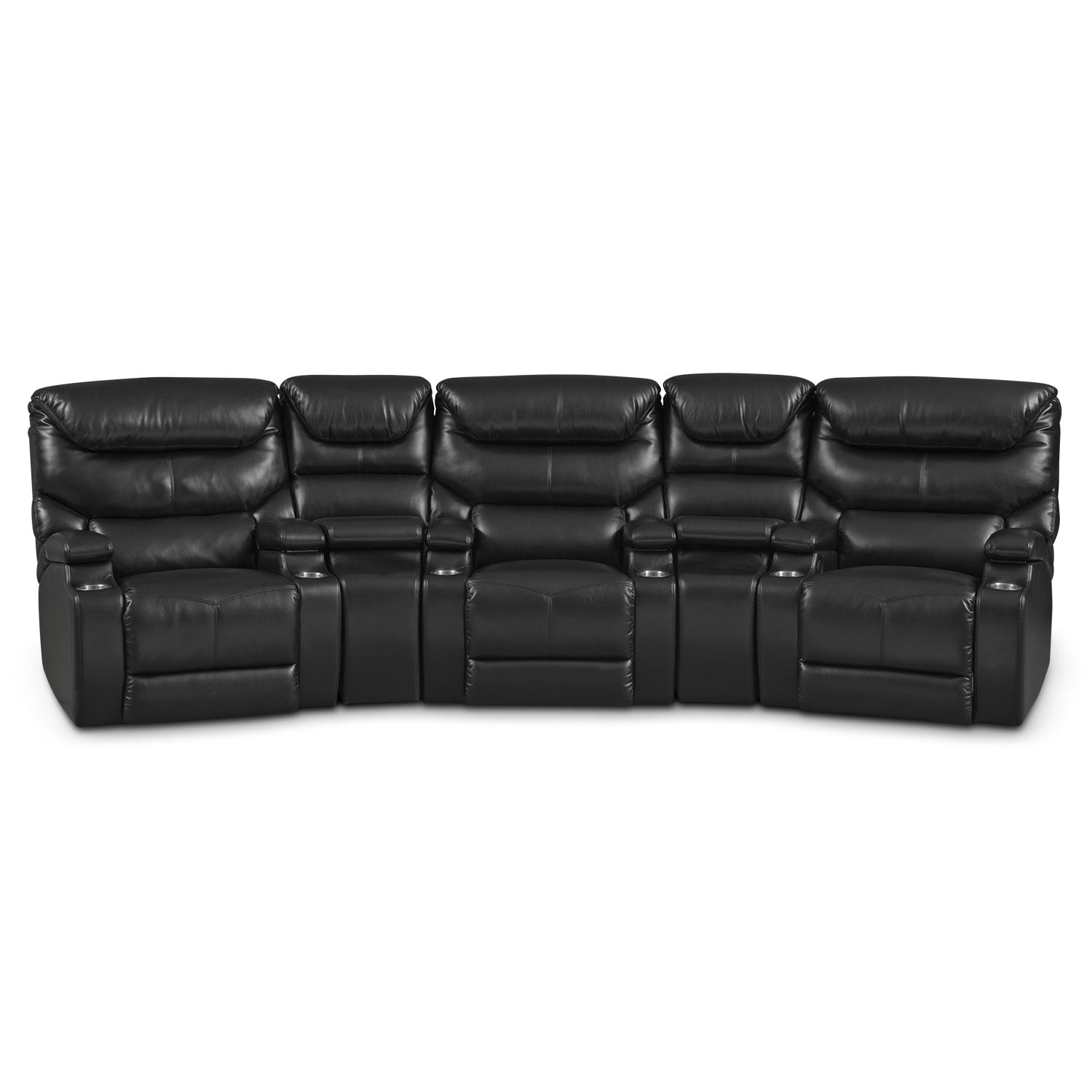 Living Room Furniture - Jupiter 5-Piece Power Reclining Home Theater Sectional - Black