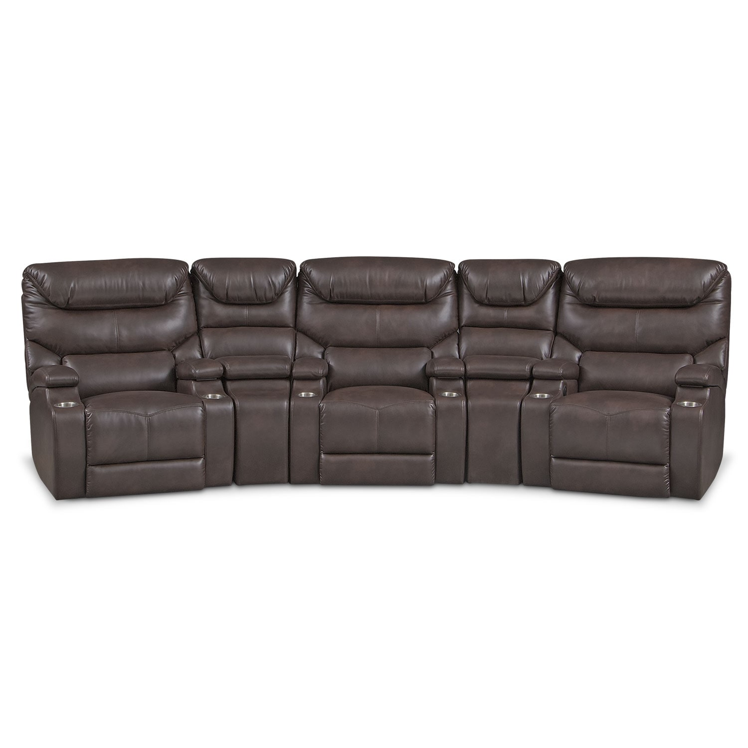 Living Room Furniture - Jupiter Brown 5 Pc. Power Home Theater Sectional
