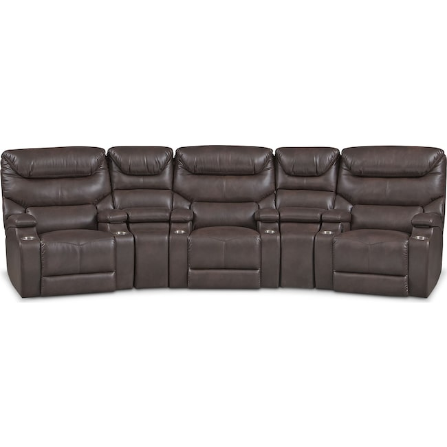 Living Room Furniture - Saturn 5-Piece Dual-Power Home Theater Sectional - Brown