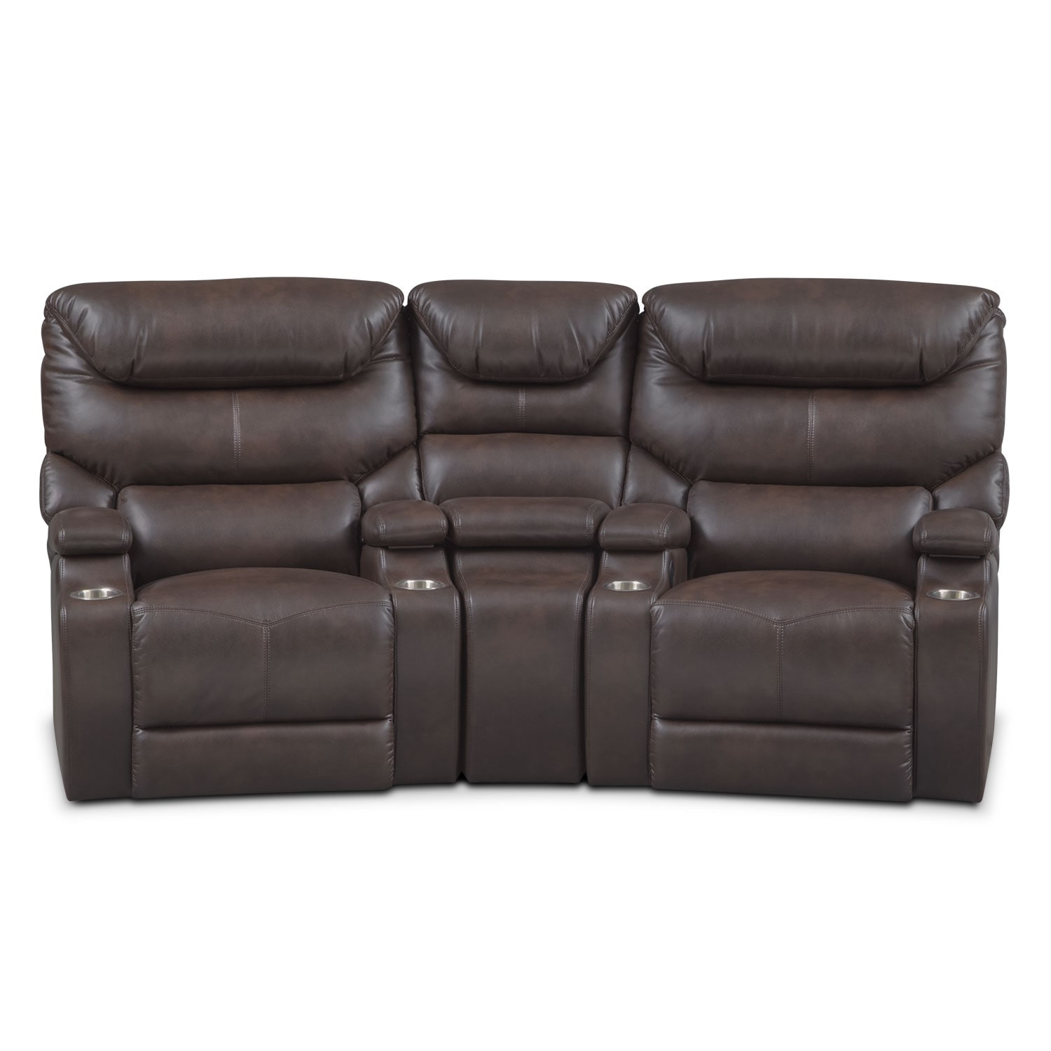 Living Room Furniture - Jupiter 3-Piece Power Reclining Home Theater Sectional - Brown