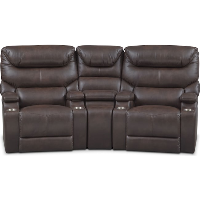 Living Room Furniture - Saturn 3-Piece Dual-Power Home Theater Sectional - Brown