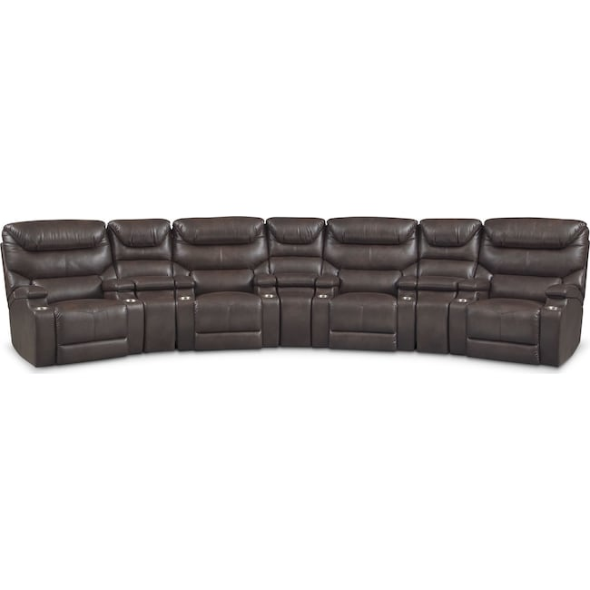 Living Room Furniture - Saturn 7-Piece Power Home Theater Sectional - Brown