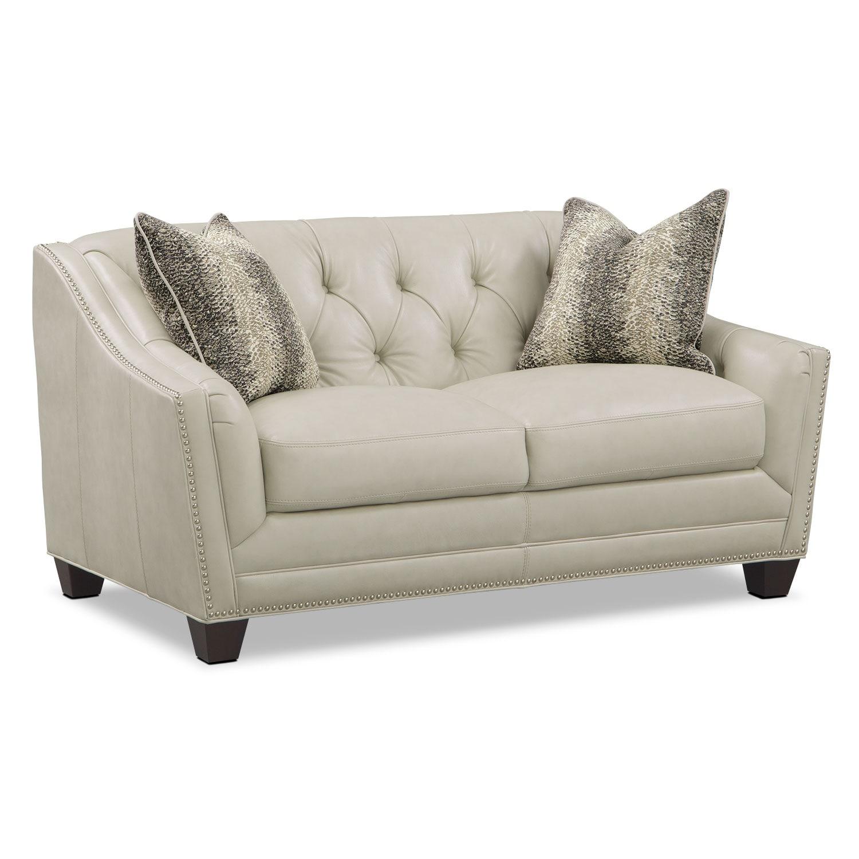 Living Room Furniture - Alexis Vanilla Loveseat