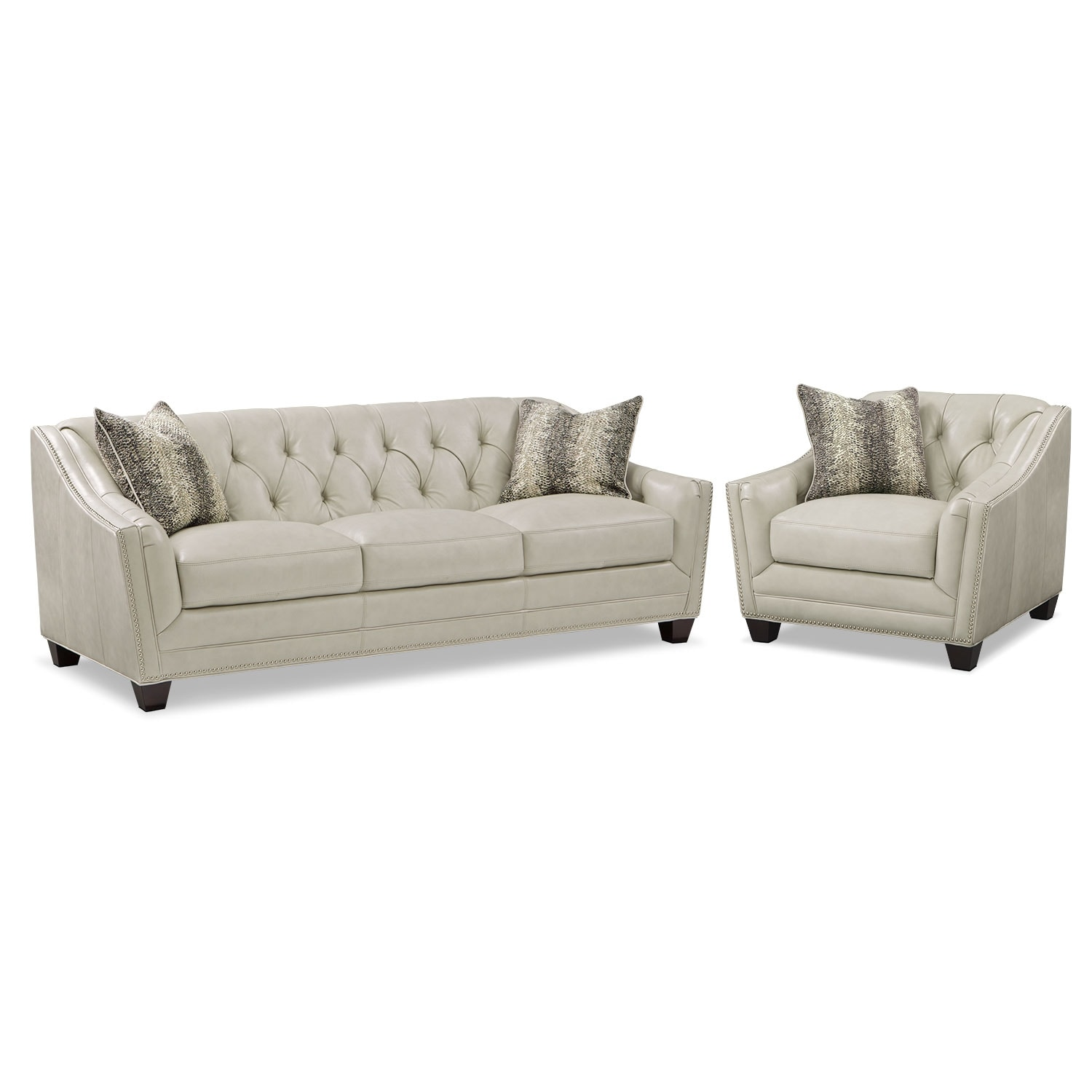 Living Room Furniture - Alexis Vanilla 2 Pc. Living Room w/ Chair