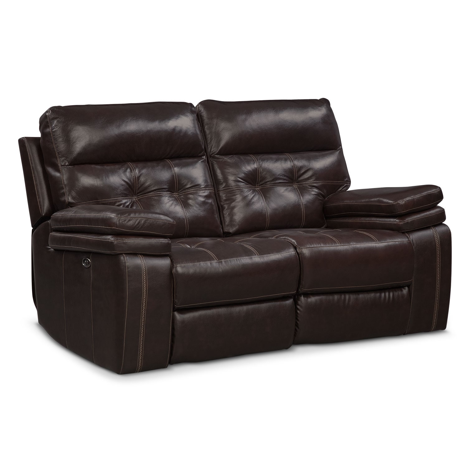 Living Room Furniture - Brisco Brown Power Reclining Loveseat
