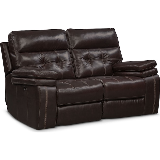 Living Room Furniture - Brisco Power Reclining Loveseat - Brown