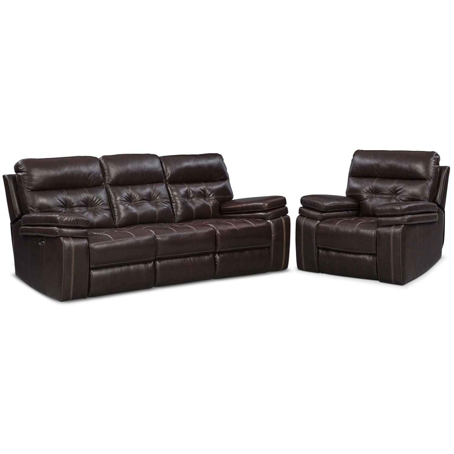 Living Room Furniture - Brisco Dual-Power Reclining Sofa and Recliner Set