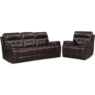 Brisco Power Reclining Sofa and Glider Recliner Set - Brown