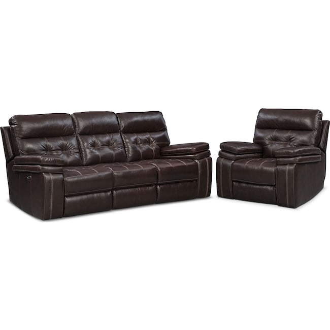 Living Room Furniture - Brisco Power Reclining Sofa and Glider Recliner - Brown