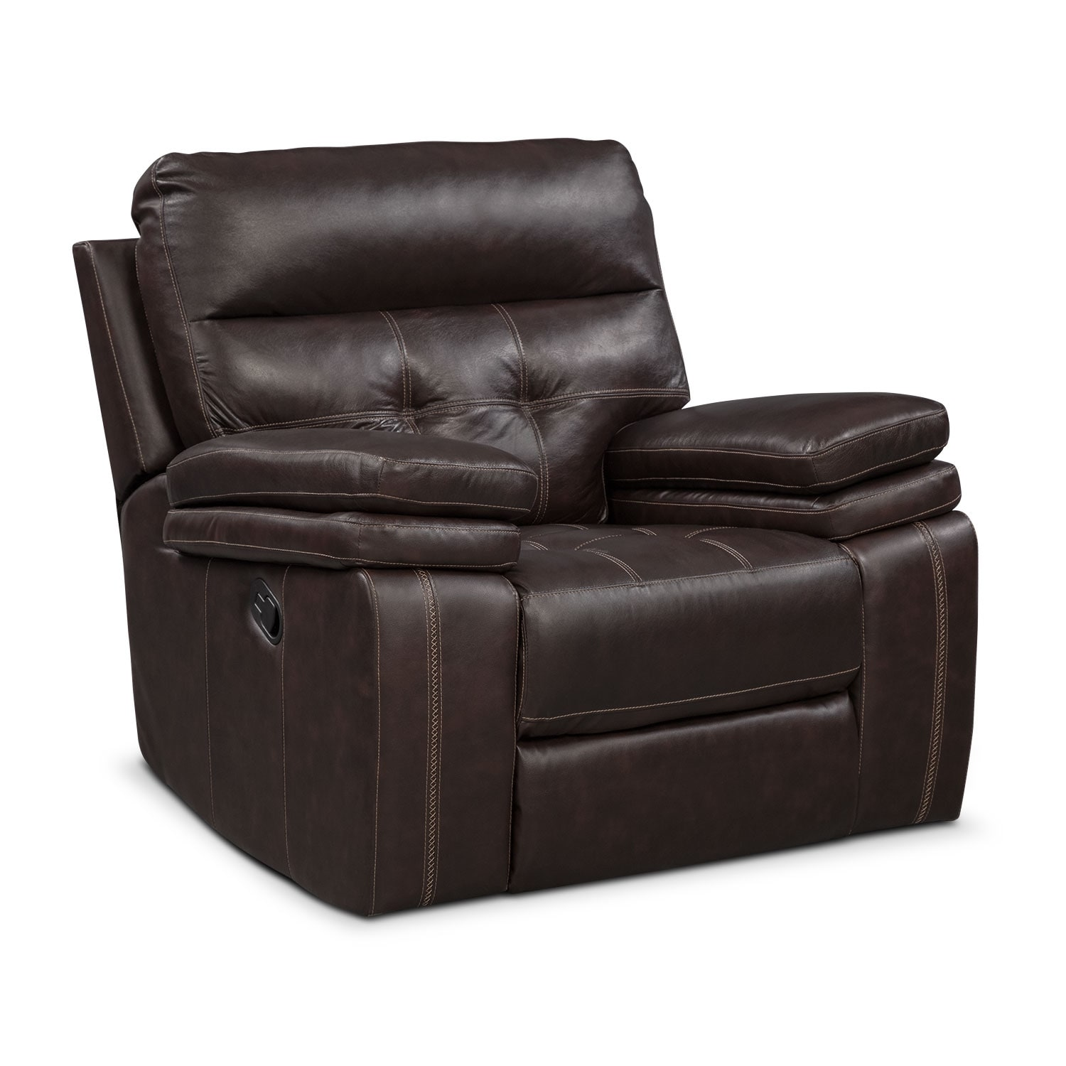 Brisco manual recliner brown american signature furniture for Signature furniture