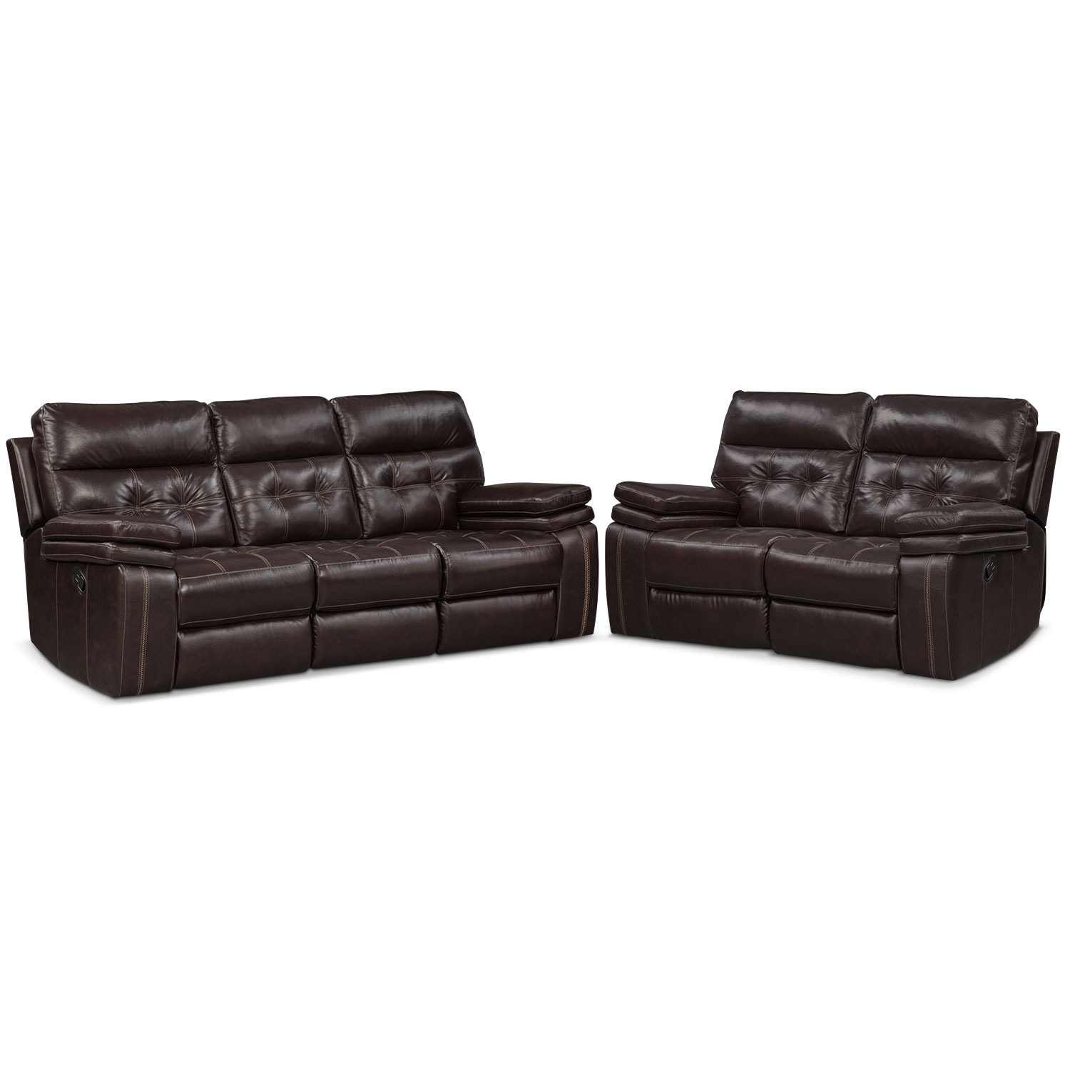 Brisco Manual Reclining Sofa and Reclining Loveseat Set - Brown