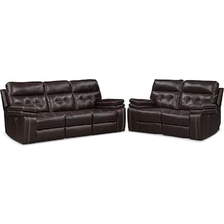 Brisco Manual Reclining Sofa and Loveseat Set - Brown