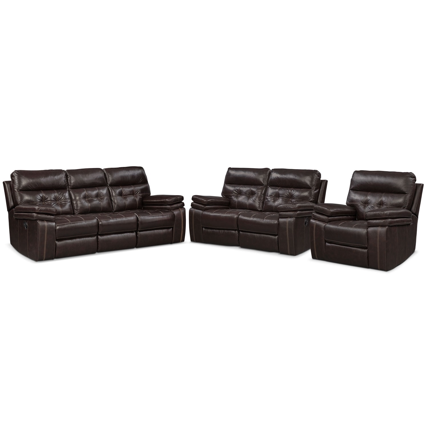 Living Room Furniture - Brisco Brown 3 Pc. Manual Reclining Living Room