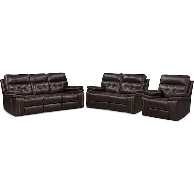 Living Room Furniture - Brisco Manual Reclining Sofa, Reclining Loveseat and Recliner Set - Brown