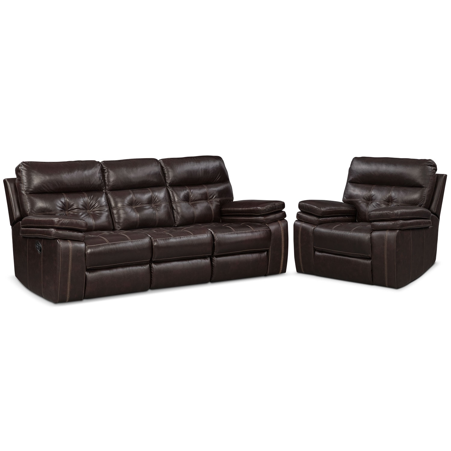 Living Room Furniture - Brisco Manual Reclining Sofa and Recliner Set - Brown