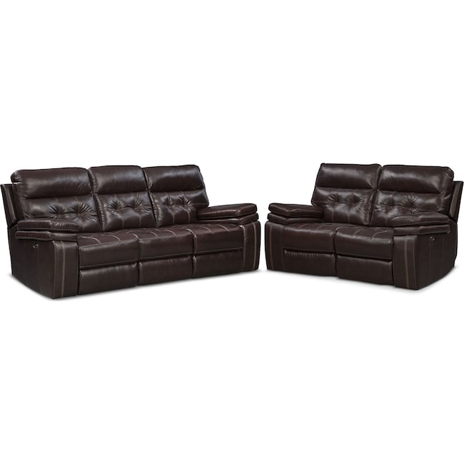 Living Room Furniture - Brisco Power Reclining Sofa and Reclining Loveseat Set - Brown