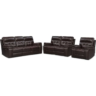 Brisco Power Reclining Sofa, Reclining Loveseat and Glider Recliner Set - Brown