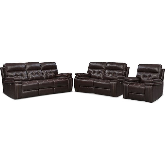 Living Room Furniture - Brisco Power Reclining Sofa, Loveseat, and Glider Recliner Set