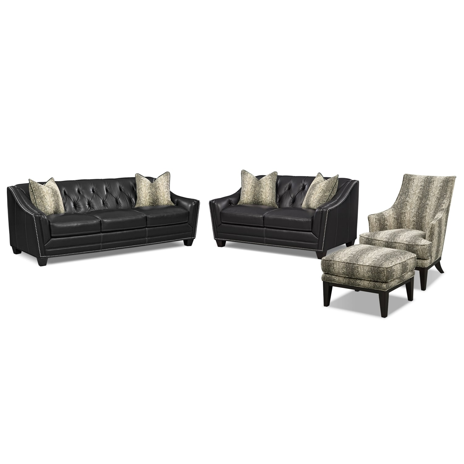 Living Room Furniture - Alexis Midnight 4 Pc. Living Room
