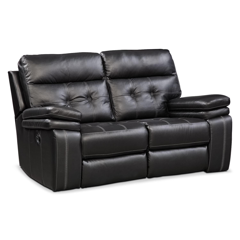 Brisco Manual Reclining Sofa And Reclining Loveseat Set Black American Signature Furniture