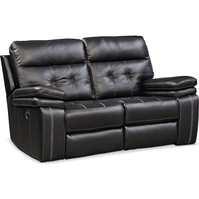 Living Room Furniture - Brisco Manual Reclining Loveseat - Black