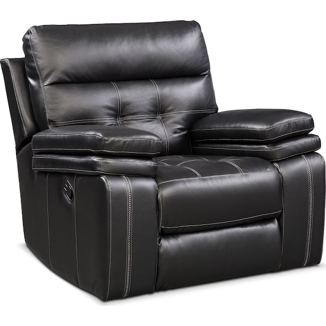 Living Room Furniture - Brisco Manual Recliner - Black