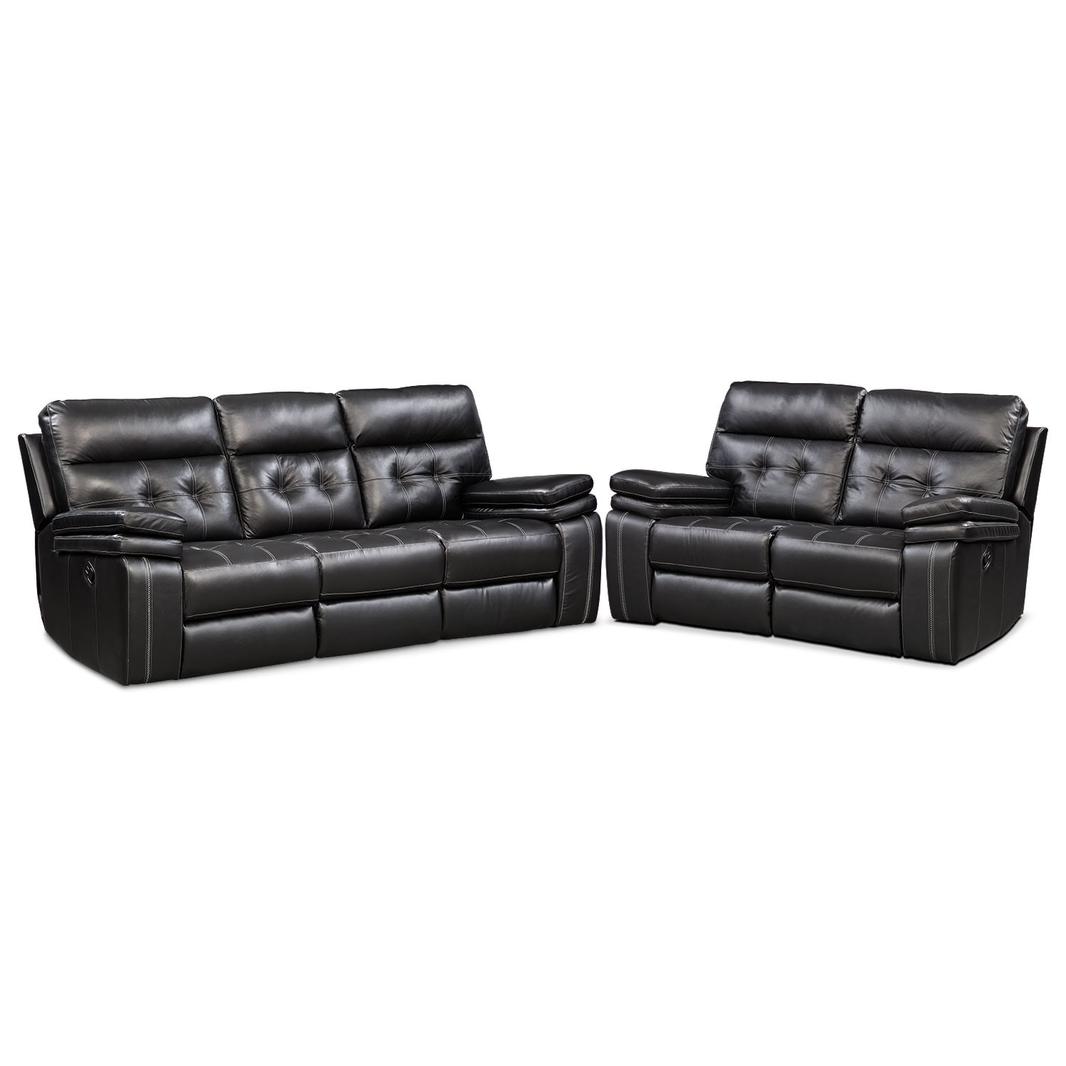 brisco manual reclining sofa and reclining loveseat set black american signature furniture