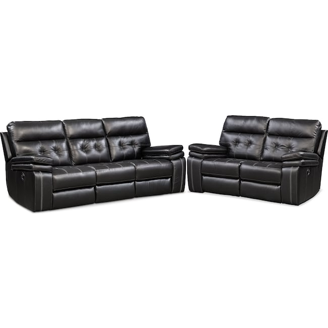 Living Room Furniture - Brisco Manual Reclining Sofa and Reclining Loveseat Set - Black