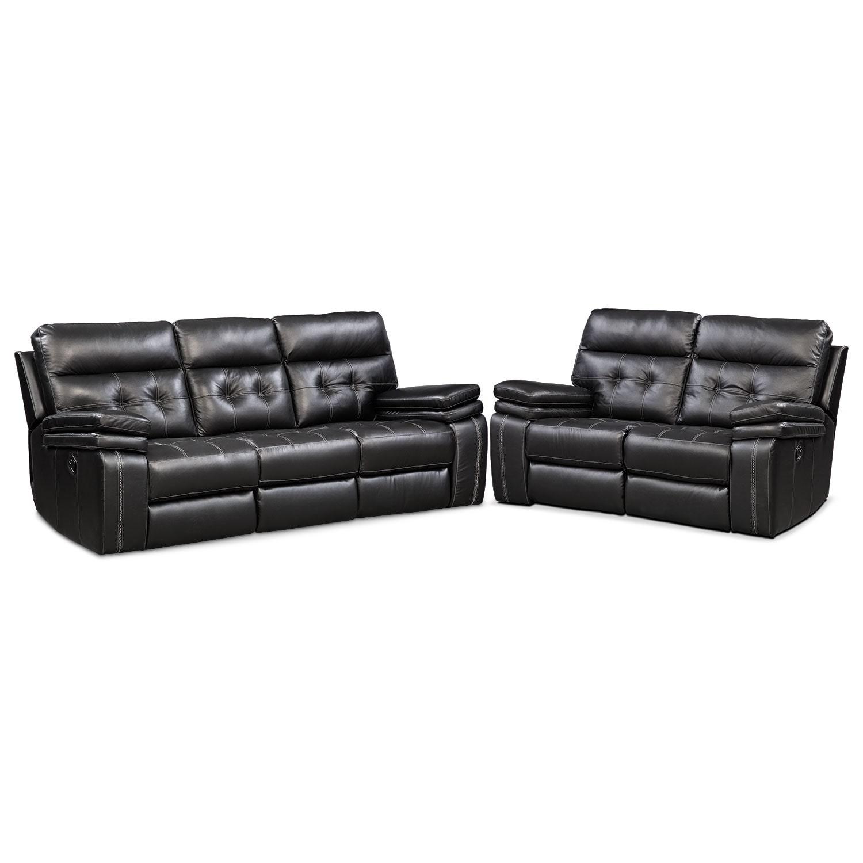Brisco Manual Reclining Sofa And Reclining Loveseat Set   Black