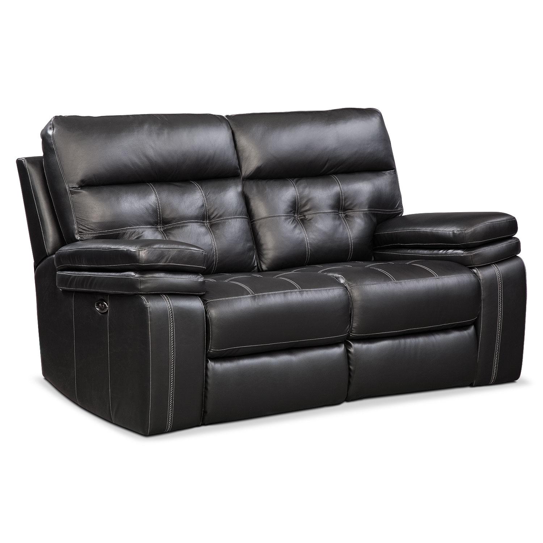 Living Room Furniture - Brisco Power Reclining Loveseat - Black