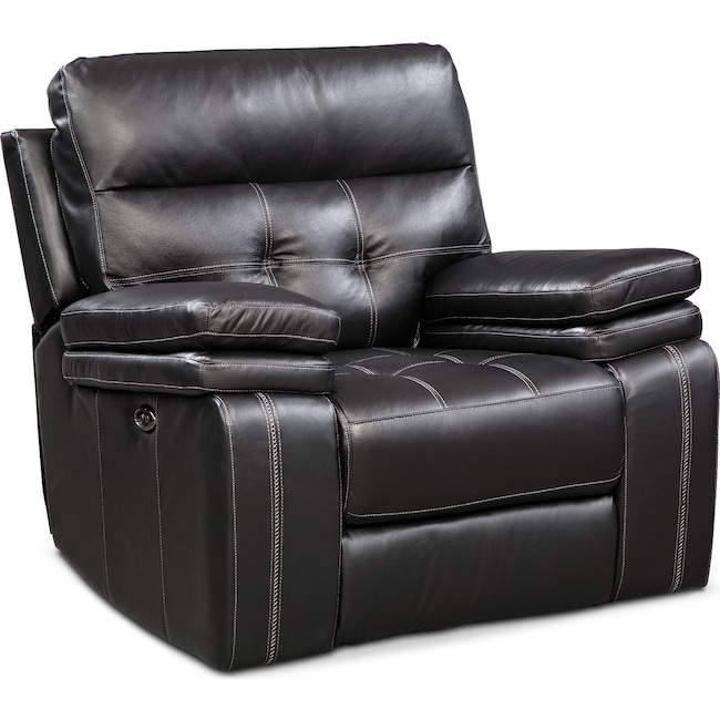Living Room Furniture - Brisco Power Glider Recliner - Black