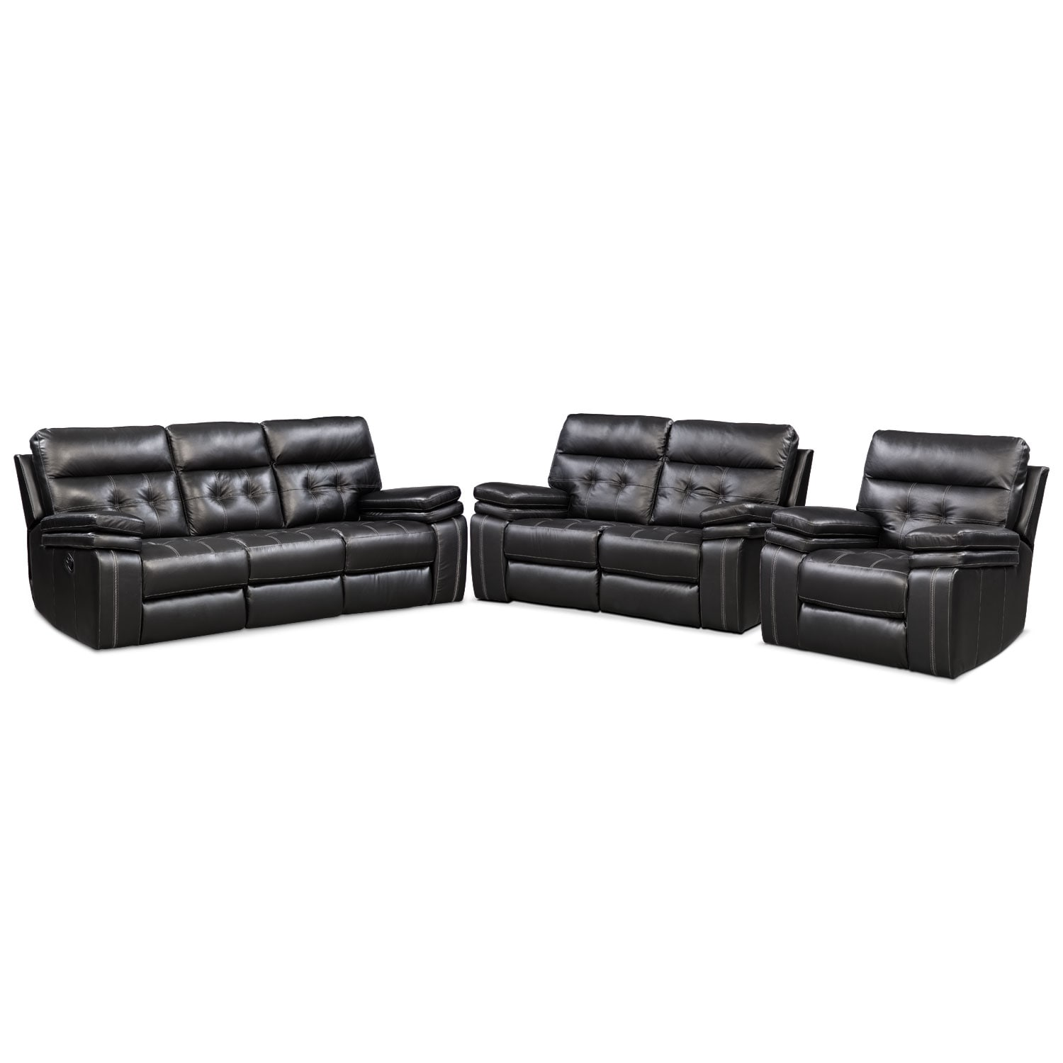 Brisco Manual Reclining Sofa Reclining Loveseat And Recliner Set Black American Signature