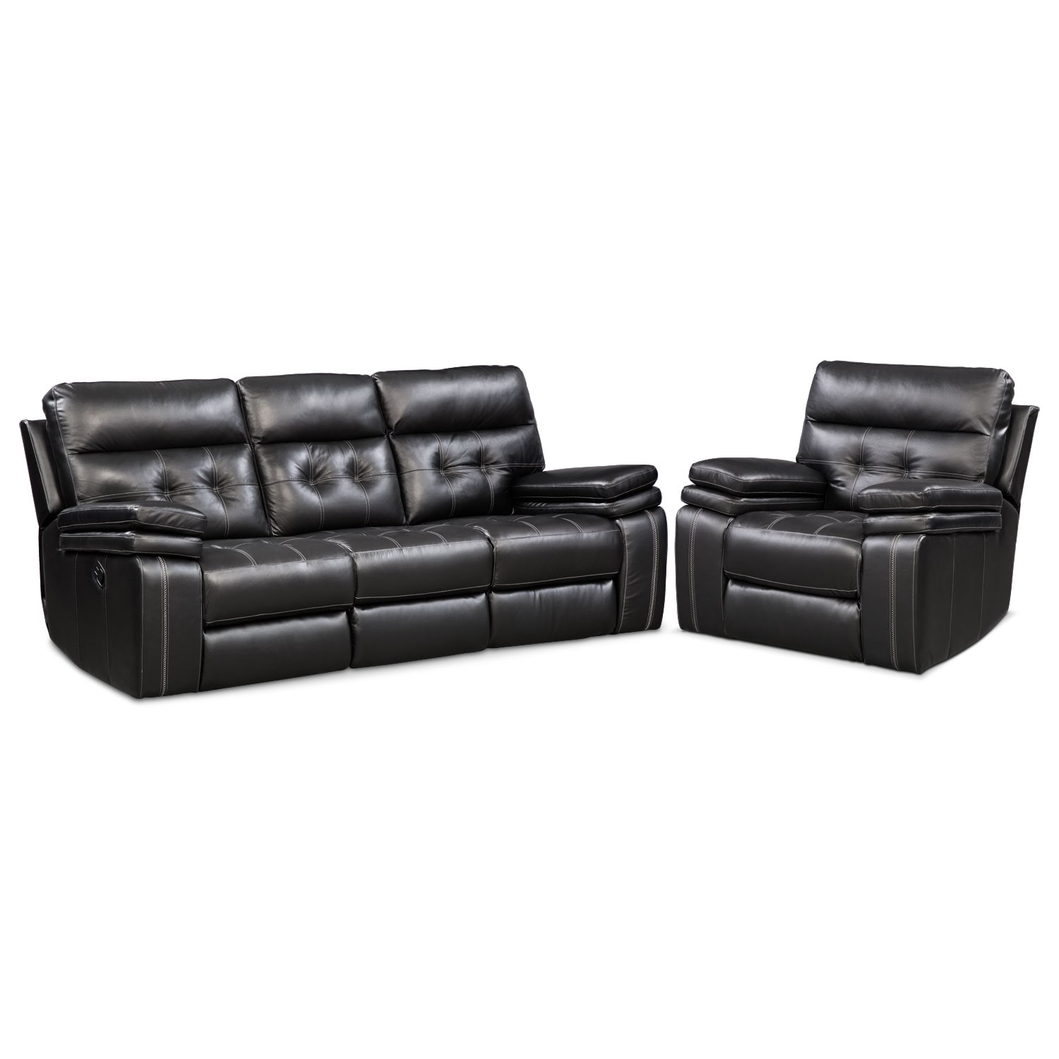 Brisco  Manual Reclining Sofa and Recliner Set - Black
