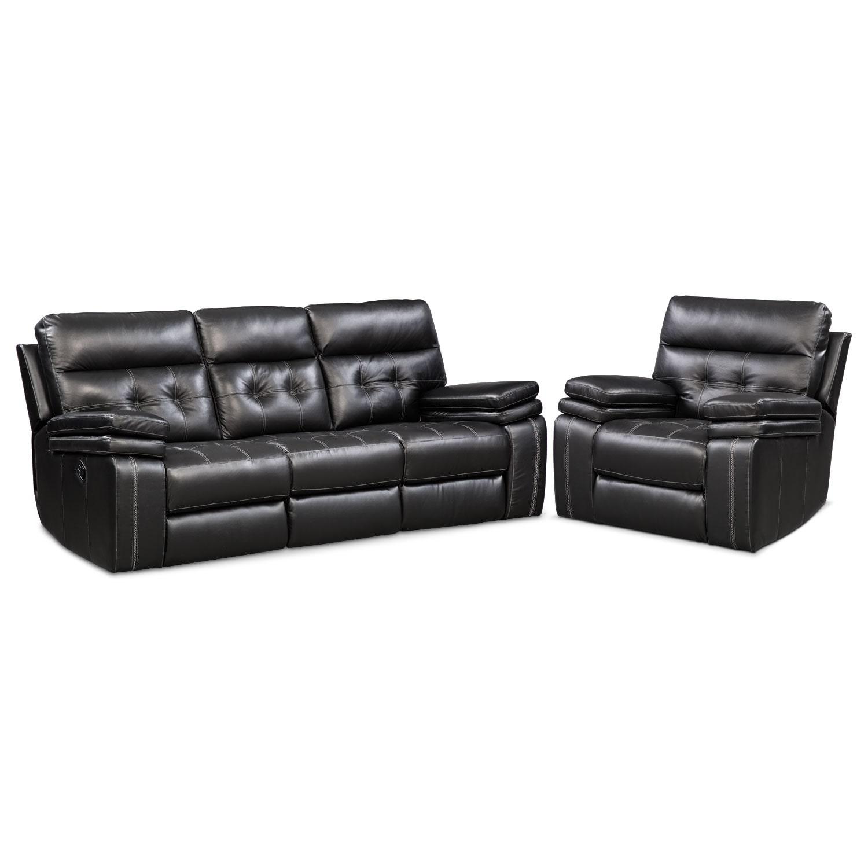 Living Room Furniture - Brisco Black 2 Pc. Manual Reclining Living Room w/ Recliner