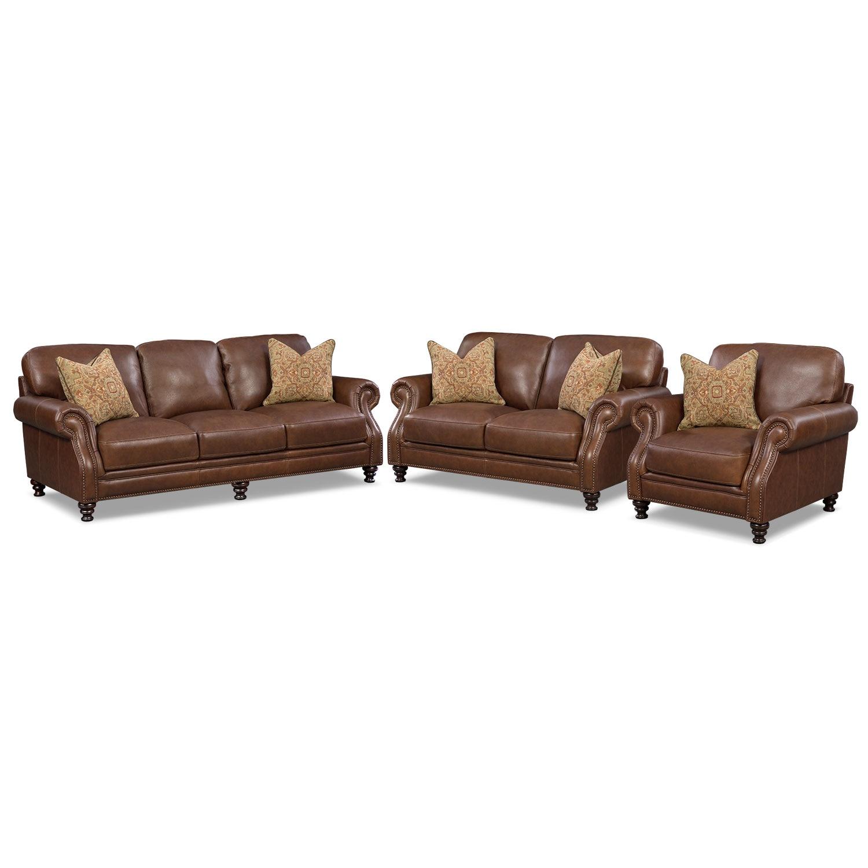 Living Room Furniture - Carrington Tobacco 3 Pc. Living Room