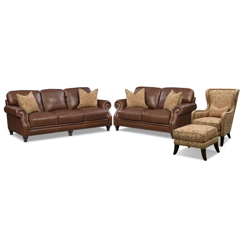 Living Room Furniture - Carrington Tobacco 4 Pc. Living Room