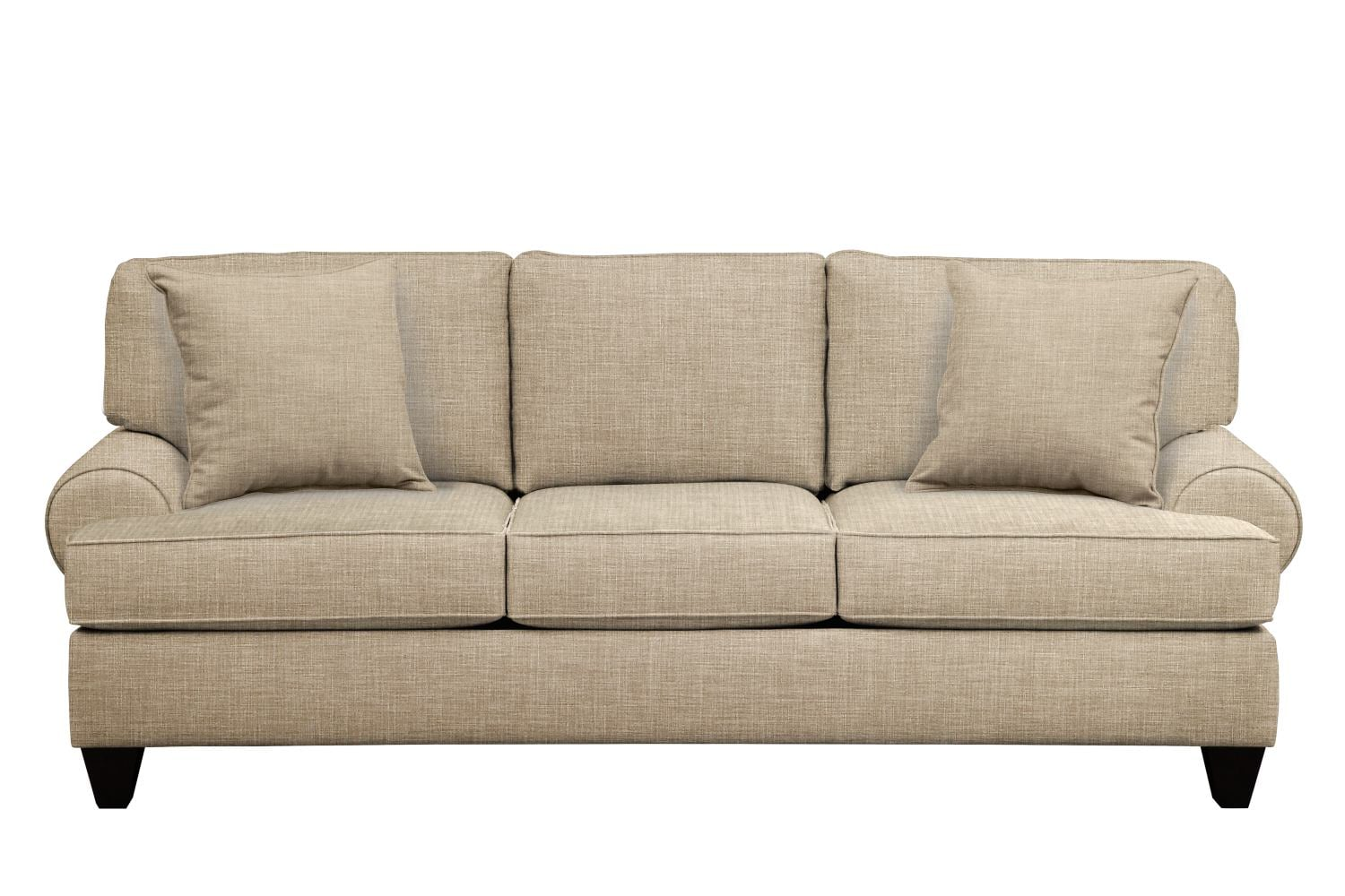 "Living Room Furniture - Bailey Roll Arm Sofa 91"" Milford II Toast w/ Milford II Toast  Pillow"