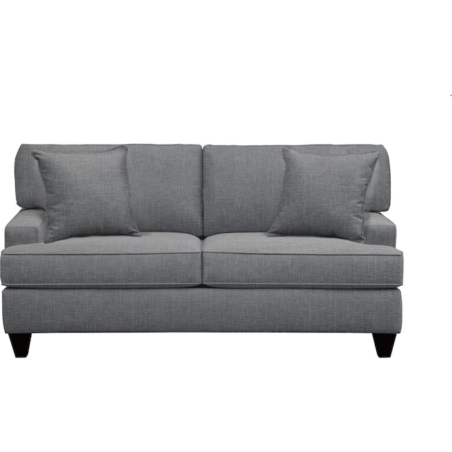 """Living Room Furniture - Conner Track Arm Sofa 75"""" Milford II Charcoal w/ Milford II Charcoal  Pillow"""