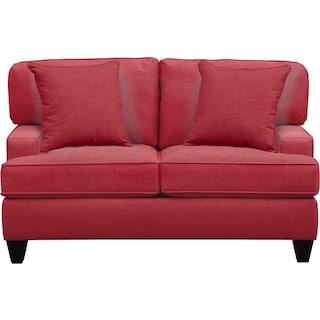 """Conner Track Arm Sofa 63"""" Oakley III Tomato w/ Oakley III Tomato Pillow"""