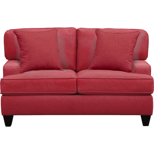 "Living Room Furniture - Conner Track Arm Sofa 63"" Oakley III Tomato w/ Oakley III Tomato Pillow"