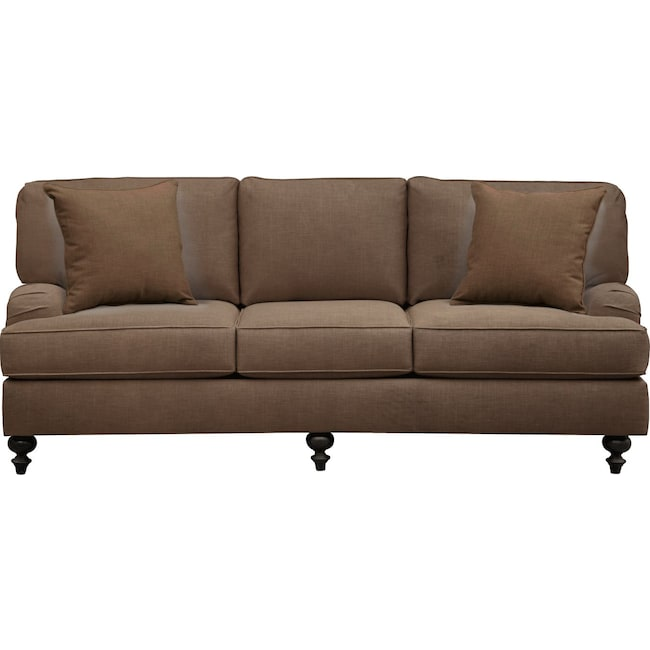 "Living Room Furniture - Avery English Arm Sofa 86"" Oakley III Java w/ Oakley III Java Pillow"