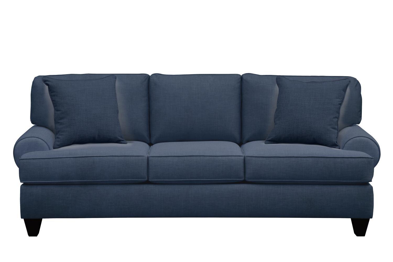 "Living Room Furniture - Bailey Roll Arm Sofa 91"" Oakley III Ink w/ Oakley III Ink Pillow"